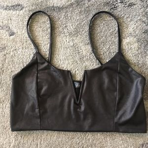MISSGUIDED Leather Look Bralette/ Crop Top